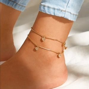 🆕 Heart Chain Anklet Set